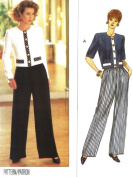 Butterick vintage sewing pattern 6845 boxy top and pants - Size 6-8-10