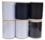 100 % Polyester All Purpose Sewing Thread Spool Set 3 White,2 Black, 1 Navy 600 Yards Per Spool