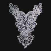 Off-White Handmade Pearl Sequins Beaded Embroidered Bridal Applique Motif Patch