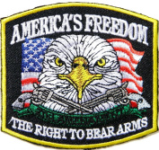 AMERICA FREEDOM THE RIGHT TO BEAR ARMS 2ND AMENAMENT Eagle Gun Cross Motorcycles Biker Rider Chopper Punk Rock Tatoo Jacket T-shirt Patch Sew Iron on Embroidered Sign Badge Costume