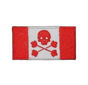 Canadian Flag Skull & Maple Leaf Cross Bone Embroidered Patch