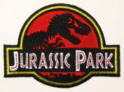 Jurassic Park 7.6cm Logo Red With Yellow Trim Embroidered Iron On/Sewn On Patch with Gift Bag