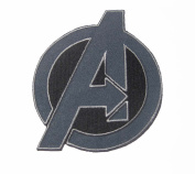 Marvel Comics 7.6cm Avengers Logo Grey Embroidered Iron On/Sewn On Patch with Gift Bag