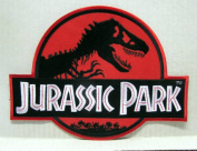 Jurassic Park 7.6cm Red Logo Embroidered Iron On/Sewn On Patch with Gift Bag