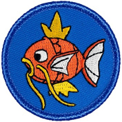Crowned Fish Patrol Patch - 5.1cm Diameter Round Embroidered Patch