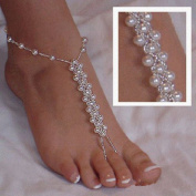 Black Menba Pearl Barefoot Sandals Beach Wedding Foot Jewellery Anklet Ankle Bridal Bracele2PCS