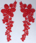 """White/red/black Bridal Gown Skirt Veil Accessories Lace Trim Lace 38cm X5"""" By Pair"""