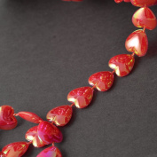 1.3cm Heart Beaded Trim by 2-yards, Red Iris, ROI-176