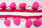 Neon Pink Jumbo Pompom Big Bobble Ball Fringe Trim Lace Braid Embroidered Sewing DIY Craft Supplies