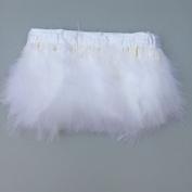Sowder White Turkey Marabou Feather Fringe Trim Pack of 2 yards