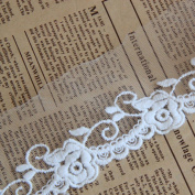 White 5 Yards 5.1cm Wide Grace Rose Embroidered Lace Dress Lace Trim Fabric Ribbon Curtain Accessory Craft Lace