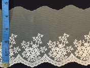 Off White Soft Mesh with Delicate Cotton Embroidery and Scallops, Great for Bridal/ Bohemian/ etc. 11cm Wide, 2 Yard Lot