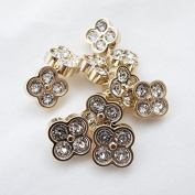 "Takashima. Rhinestone Buttons(Bijou Buttons),#CD120 13mm(1/2"")10Pieces c/#WG Gold"