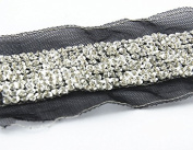 5yards 10row Braided Beaded Sequin Rhinestones Costume Applique Decorated Lace Ribbon Trim for Wedding Dress Sewing Trim T417