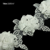 3 D Satin Flower Trim Organza Embroidered Wedding Dress Silver Metallic Lace Ribbon Applique Trimming Sewing Supplies 5yd/ T1031
