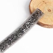 Beaded Rhinestones Trim Chain Iron on Hotfix Crystal Reel Chain Costume Applique Embellishment Sewing Supplies 5yard/ T1137