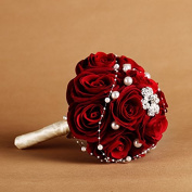 Hestian8.15cm Luxury Handmade Dark Red Romantic Bridal Toss Bouquet Wedding Bouquet Hand Tie