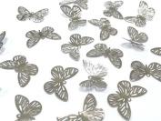 BF3- 20pcs SILVER Filigree Metal Butterfly Embellishments, Wedding Craft