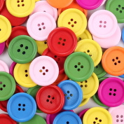 Crystallove 4 Holes Mixed Colour Environmental Buttons 30mm in Bulk for Sewing Fasteners Scrapbooking and DIY Craft