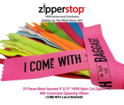 Zipperstop Wholesale YKK®- 25 Assorted 23cm & 25cm Nylon Coil Zippers YKK® #3 Skirt & Dress Zippers Closed Bottom Made in USA with Customised Zipperstop Ribbon - Crafter's Special