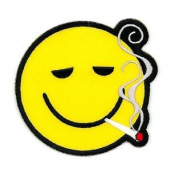 Novelty Iron On Patch - Smoking Weed Joint Yellow Smile Smiley Face