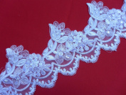 13cm White Sequined Beaded Dress Lace Trim Bridal Bone Lace Tirm