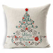 Malloom® Merry Christmas Cotton Linen Blended Pillow Case Cushion Cover
