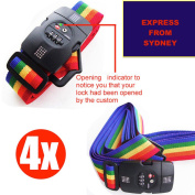 4x Cross Luggage Strap with 3-Digit Combination TSA Lock Opening Indicator - NEW