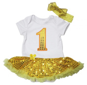 Birthday Yellow Sequin 1st Dress White Cotton Bodysuit Baby Romper Set Nb-18m
