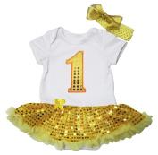Birthday Yellow Sequin 1st Dress White Cotton Bodysuit Baby Romper Set Nb-18m