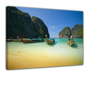 "Bilderdepot24 Wall Art - Canvas Picture ""Tropical Beach - Tropischer Strand"" 40cm x 30cm - Gallery wrapped, directly from the manufacturer"