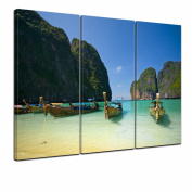 """Bilderdepot24 Wall Art - Canvas Picture """"Tropical Beach - Tropischer Strand"""" 90cm x 60cm 3 pieces - Gallery wrapped, directly from the manufacturer"""