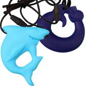 MyBoo Autism/Sensory/Teething Chewable Dragon and Shark Pendant Bundle - Set of 2, Blue