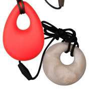 MyBoo Autism/Sensory/Teething Chewable Round and Droplet Pendant Bundle, Set of 2 - White/Red