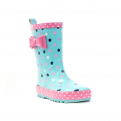 Wellygogs - Welligogs Girls Blue Polka Dots Wellies with Bow