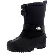 Unisex Kids Pull On Drawstring Closure Nylon Winter Snow Rain Fur Boots