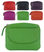 Fine Leather Small Zipped Coin Card Key Purse with Front Flap