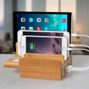 Upow 3 in 1 Multi-Port USB Bamboo Charging Station (40W 5-Port USB Charging Dock) Desktop Charging Stand, Apple Watch Stand for iPhone, iPad, Apple Watch, Tablet Etc