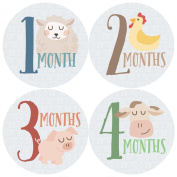 Monthly Baby Stickers, Farm, Animals, Baby Gift, Milestone Stickers