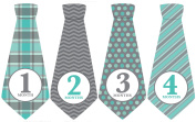 Monthly Baby Ties, Baby Boy, Grey Blue, Grey, Month Necktie