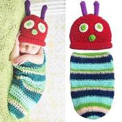 Aaronam Newborn Baby Boy Girl Beanie Crochet Very Hungry Caterpillar Hat Cocoon Set Party Costume Photo Props