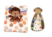 Mellow Monkey Snuggle Blanket and Security Toy with Rattle Head