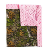 Blossoms and Buds Mossy Oak and Pink Minky Dot Blanket