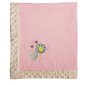Blossoms and Buds Just Hatched Embroidered Minky Dot Blanket