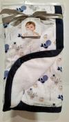 Blankets & Beyond Birdie Blanket with Navy Blue Border