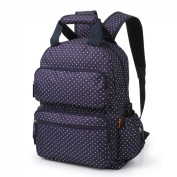Lusvanita Nappy Backpack Bag Large Capacity Backpack Oxford Baby Nappy Bag Dotted Mommy Travel Bag, Navy