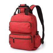 Luisvanita Nappy Tote Bag Large Capacity Backpack Oxford Baby Nappy Bag Dotted Mommy Travel Bag, Red