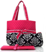 NGIL Hot Pink Black Damask Print Quilted Nappy Bag
