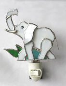 Stained Glass Ivory Elephant Night Light