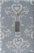 Grey Damask Light Switch Plate Covers / Single Toggle / Damask Nursery Wall Decor